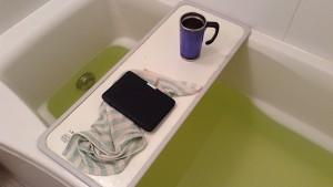 半身浴で読書の休日